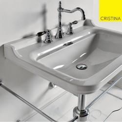 Vasque céramique à suspendre ou sur colonne 80-55 cm perçage 3 trous WALDORF - CRISTINA ONDYNA WD8155Vasque céramique à suspendr