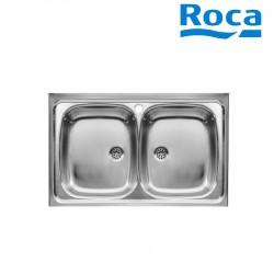 Evier inox 2 bacs pour installation sur meuble de 500 mm - ROCA A870420803