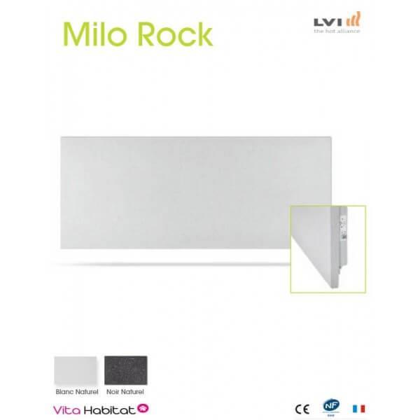 radiateur electrique milo rock blanc naturel 1430w. Black Bedroom Furniture Sets. Home Design Ideas