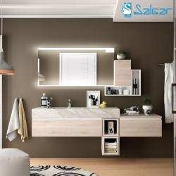 Meuble salle de bains 60-80 cm avec vasque intégrée en marbre blanc COMPAKT 46 - SALGAR 25426