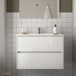Ensemble meuble de salle de bain 80cm 2 tiroirs Blanc et Vasque porcelaine - NOJA - SALGAR - 85044