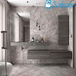 Plan de toilette de 1201 à 1400 mm avec une vasque intégrée GRIS PIERRE COMPAKT 46 - SALGAR 25442