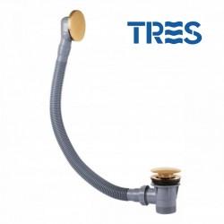 Vidage baignoire avec trop-plein et valve automatique Doré CLICK-CLACK  - TRES - 03453420OR