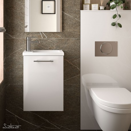Meuble lave-mains et vasque blanc brillant - SALGAR MICRO 22520