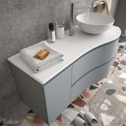 Plan de toilette arrondi gauche en Solid Surface- MAM - SALGAR - 83883