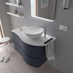 Plan de toilette arrondi gauche avec porte-serviette intégré en Solid Surface- MAM - SALGAR - 85968