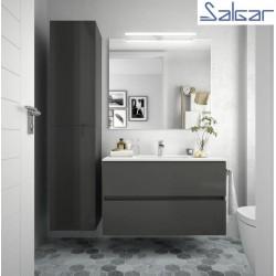 Meuble salle de bain suspendu 2 tiroirs FUSSION LINE 900 Gris Brillant - SALGAR 23330