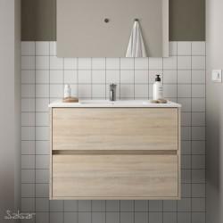 Ensemble meuble de salle de bain 80cm 2 tiroirs Chêne Calédonie et Vasque porcelaine - NOJA - SALGAR - 85048