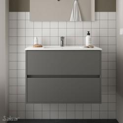 Ensemble meuble de salle de bain 80cm 2 tiroirs Gris Mat et Vasque porcelaine NOJA - SALGAR - 85047