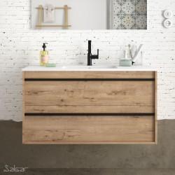 Ensemble meuble de salle de bain 100cm 2 tiroirs Chêne Ostippo et Vasque porcelaine ATTILA - Salgar 84951