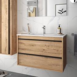 Ensemble meuble de salle de bain 80cm 2 tiroirs Chêne Ostippo et Vasque porcelaine ATTILA - Salgar 84945