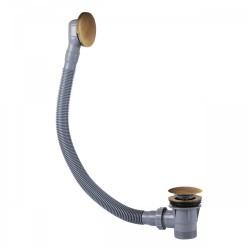 Vidage baignoire Laiton Vieilli Mat avec trop‑plein et valve automatique - TRES 03453420LM