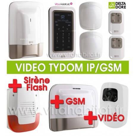 Pack Alarme Radio TYXAL Plus + sirène + Pack Tydom Vidéo IP/GSM 2.0 - Delta Dore - 6410176 + 6410173