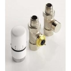 Kit robinetterie manuelle droit tete thermostatique design nickelé- ACOVA 841068