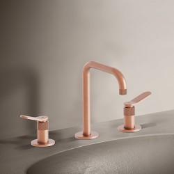 Mélangeur lavabo 3 trous Or Rose Brossé EAST SIDE - CRISTINA ONDYNA ES20534P