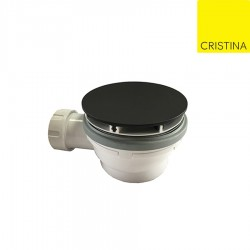 Bonde de douche hauteur 60 mm couvercle extra plat BLACK MAT - CRISTINA ONDYNA AD45513