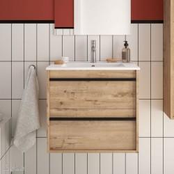 Ensemble meuble de salle de bain 600mm 2 tiroirs Chêne Ostippo et Vasque porcelaine ATTILA - SALGAR 84939