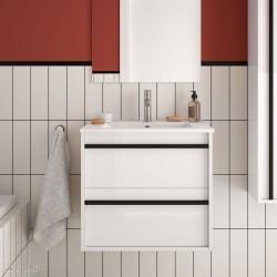 Ensemble meuble de salle de bain 600mm 2 tiroirs Blanc et Vasque porcelaine ATTILA- SALGAR 84937