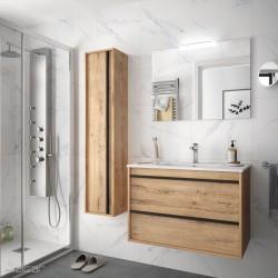 Ensemble meuble de salle de bain 800mm 2 tiroirs Chêne Ostippo avec Vasque porcelaine, Miroir et Applique ATTILA- SALGAR 84944