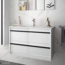 Ensemble meuble de salle de bain 80cm 2 tiroirs Blanc Brillant et Vasque porcelaine ATTILA - SALGAR 84943