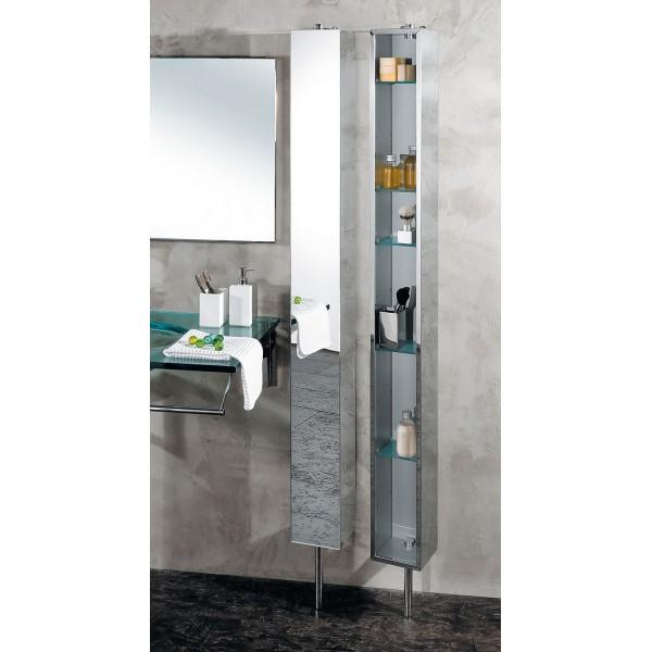 armoire de salle de bain inox tournante avec miroir. Black Bedroom Furniture Sets. Home Design Ideas
