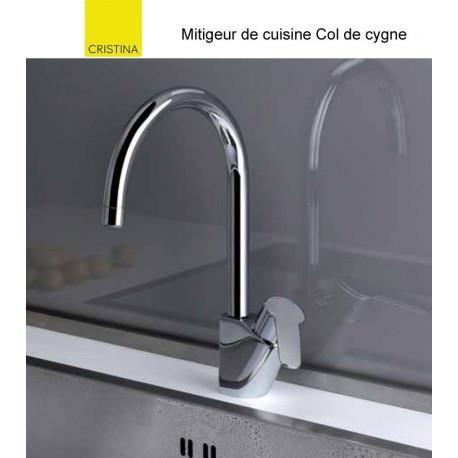 Mitigeur Cuisine bec haut chromé New Day col de cygne - CRISTINA ONDYNA KN52651