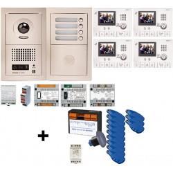 Pack vidéo Collectif 4BP encastré avecVIGIK, 4 moniteurs et 12 badges (moniteurs et badges programmés) GTV4EV - AIPHONE - 200363
