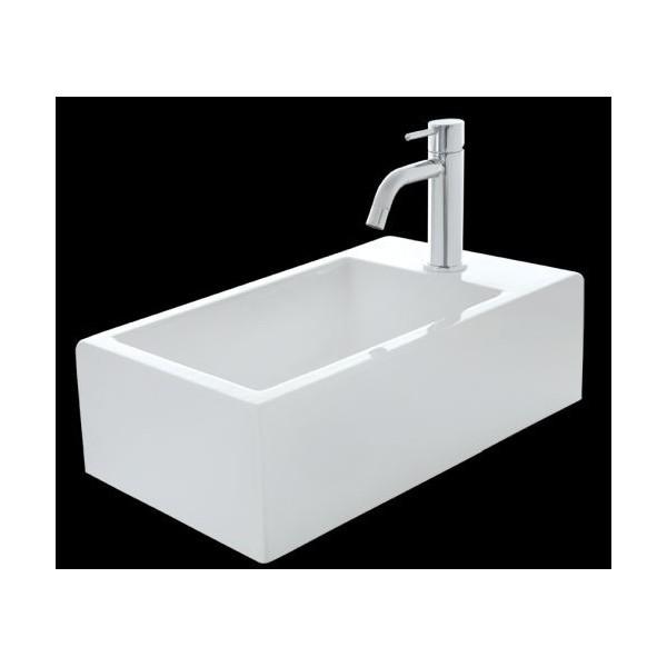 blanc brillant blanc brillant Petit lave-mains en c/éramique sanitaire KW198-42 x 28 x 15 cm Bonde Pop-Up:Avec couvercle suppl