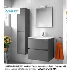 Ensemble salle de bain 60cm meuble + miroir + vasque + applique SALGAR - GRIS mat NOJA