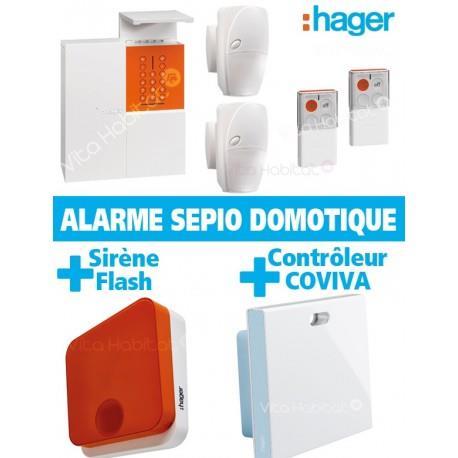 Pack Alarme Radio SEPIO Domotique RLP304F + Sirene Exterieure + Domotique - sans fil - Logisty Hager  RLP304DOM