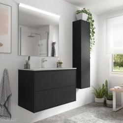 Ensemble meuble salle de bain Noir mat vasque, miroir et applique 800 OPTIMUS - 87823 SALGAR