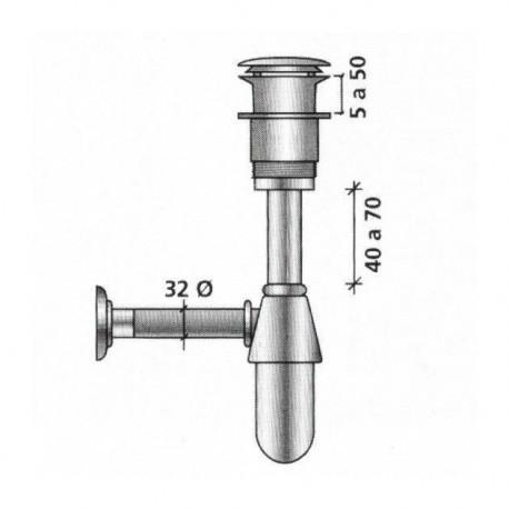 Siphon avec bonde clicker laiton chromé pour vasque - SALGAR 13663