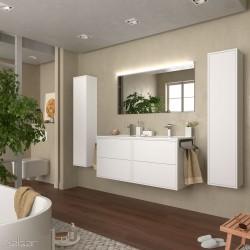 Ensemble meuble salle de bain Blanc Mat 1200 OPTIMUS vasque + miroir +applique - SALGAR 87817