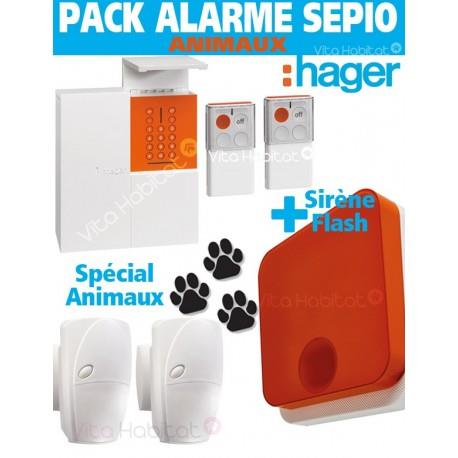 Pack Alarme SEPIO ANIMAUX RLP304F + Sirene Exterieure - Logisty Hager  RLP304SIR-ANI