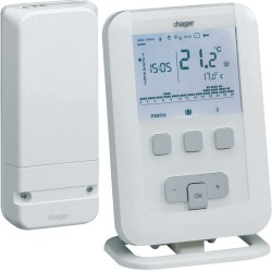 Kit Thermostat ambiance programmable digital radio Gestion du Chauffage Eau Chaude  -  HAGER EK560