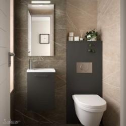 Ensemble Meuble lave main MICRO 400 GRIS BRILLANT + Vasque + Miroir - SALGAR 85160