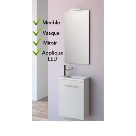 Ensemble Lave-mains Meuble Blanc + Vasque + Miroir + LED - SALGAR MICRO 22516