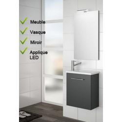 Ensemble Lave-mains Meuble laqué gris brillant + Vasque + Miroir + LED - SALGAR MICRO 22517