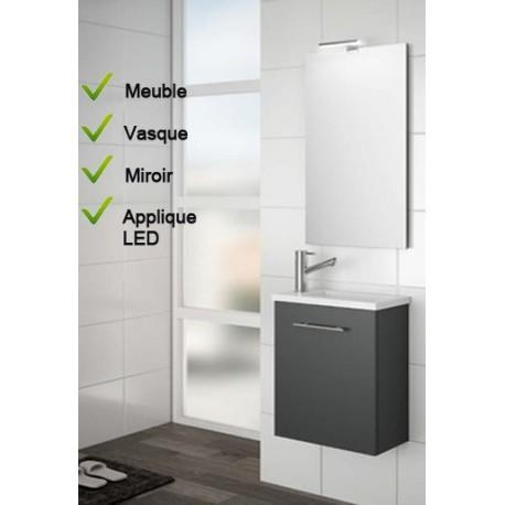 Ensemble Lave-mains Meuble laqué gris brillant + Vasque + Miroir + LED - SALGAR MICRO 22517