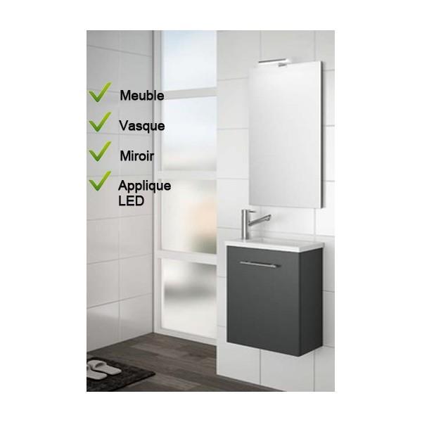Ensemble Lave mains Meuble laqué gris brillant Vasque Miroir