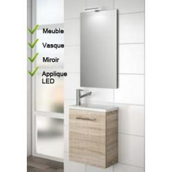 Ensemble Lave-mains Meuble Chêne + Vasque + Mirroir + LED - SALGAR MICRO 22897