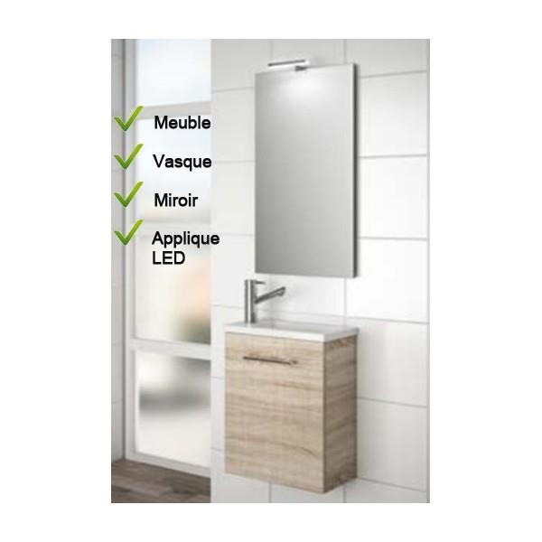 Ensemble Lave-mains Meuble Chêne + Vasque + Mirroir + LED - SALGAR ...