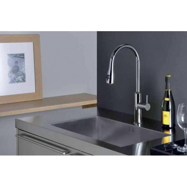 mitigeur pour évier de cuisine avec douchette bi-jets chrome alto