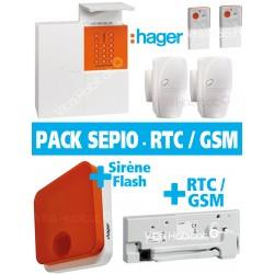 Pack Alarme Radio SEPIO avec Transmetteur RTC / GSM + Sirene Exterieur - Logisty Hager