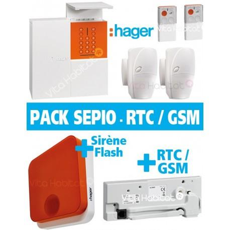OFFRE Pack Alarme Radio SEPIO RLP304F + Sirene Exterieure - sans fil - Logisty Hager  RLP304SIR