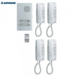 Kit audio avec platine alu saillie 4 BP, 4 combinés et 1 alimentation - Aiphone 110550