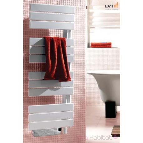 Sèche-serviettes LVI - SILAY IR T - 1500W (500+1000) MIXTE + SOUFFLANT - 3870046  Collecteur vertical à gauche