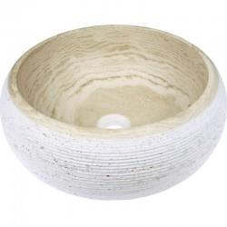 Vasque ronde en pierre 42 cm travertin - CRISTINA ONDYNA UR2405