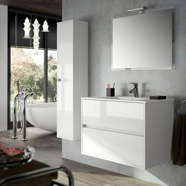 Ensemble salle de bain Meuble suspendu et Vasque NOJA 800 Blanc laqué -  SALGAR 17034