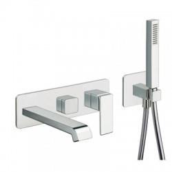 Façade externe pour bain douche mural 2 sorties avec douchette chrome QUADRI - CRISTINA ONDYNA QS11051